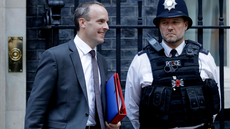 Brexit Secretary Dominic Raab leaving 10 Downing Street on Thursday