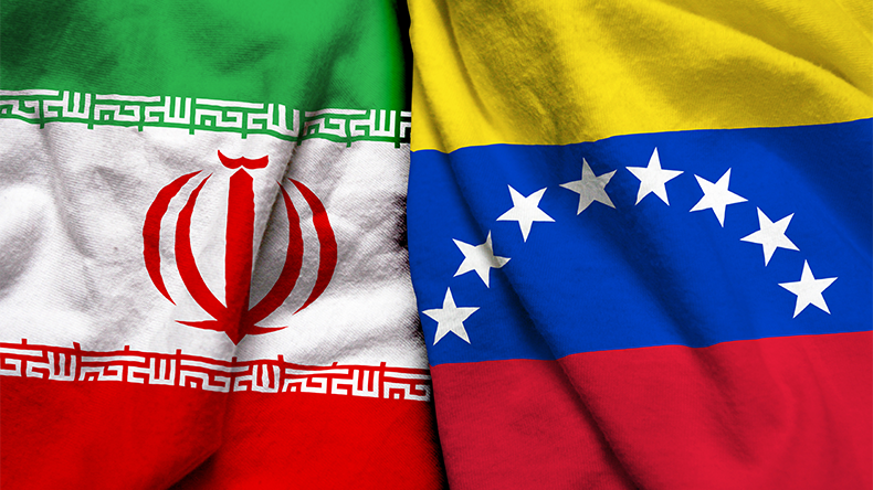 Iran and Venezuela flags
