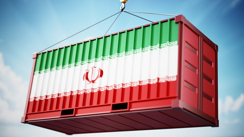 Iran flag on container concept