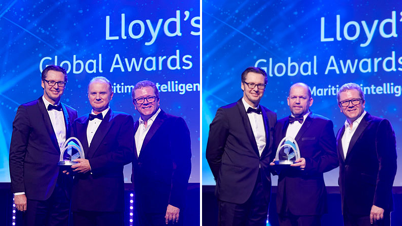 Left: Environment award sponsor Knut Ørbeck-Nilssen, CEO Maritime, DNV GL (left) hands the prize to  Oleg Kalinin, Fleet Director of SCF Management Services. Right: Knut Ørbeck-Nilssen, CEO Maritime, DNV GL hands the prize to Robert Waterman CEO at CMA CGM UK Shipping Ltd