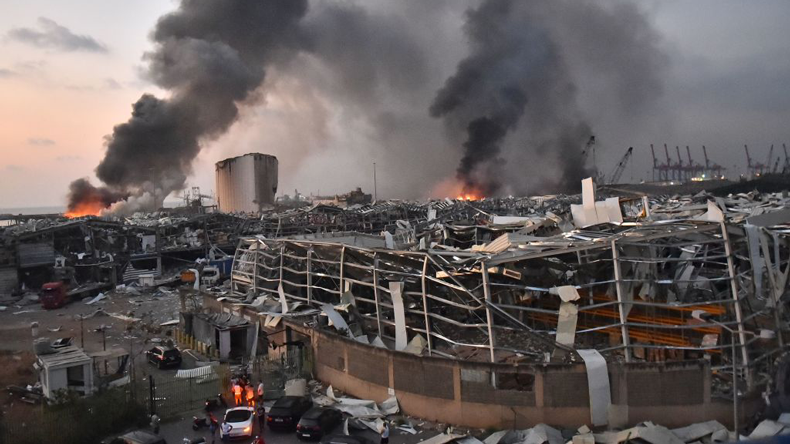 Beirut blast: looking across to port area shortly after blast. Credit: STR/AFP via Getty Images