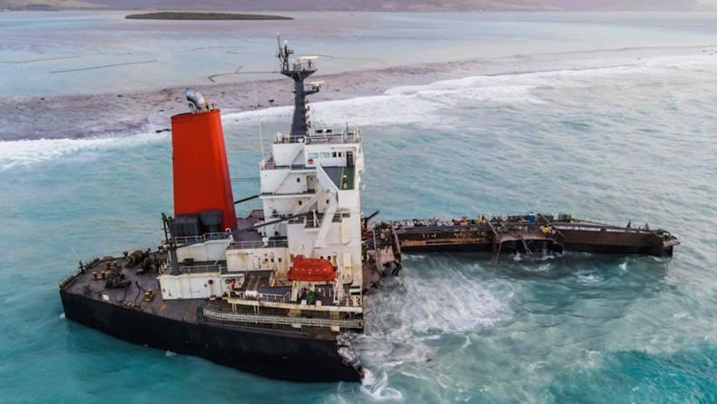 An aerial view taken in Mauritius on August 17, 2020, shows the MV Wakashio bulk carrier, belonging to a Japanese company but Panamanian-flagged, that had run aground and broke into two parts near Blue Bay Marine Park. (Photo by - / AFP) (Photo by An aerial view taken in Mauritius on August 17, 2020, shows the MV Wakashio bulk carrier, belonging to a Japanese company but Panamanian-flagged, that had run aground and broke into two parts near Blue Bay Marine Park. (Photo by - / AFP) (Photo by -/AFP via Getty Images))