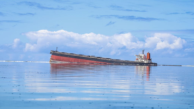 Grounded bulker Wakashio at Mauritius 11 August 2020. Credit: Daren Mauree/L'Express Maurice/AFP via Getty Images
