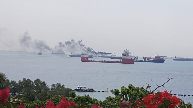 Crew evacuated after chemical tanker catches fire off
