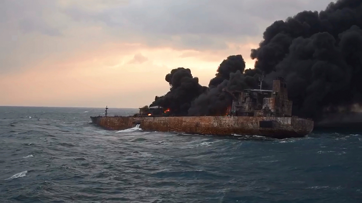 Fire on board tanker Sanchi after collision January 2018