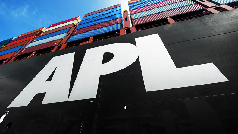 APL logo on side of ship