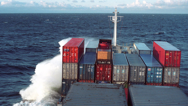 Containership at sea