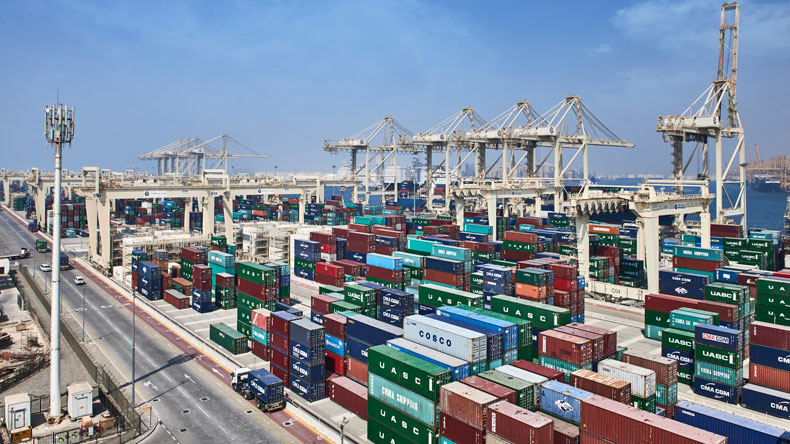Containers stacked at Jebel Ali yard
