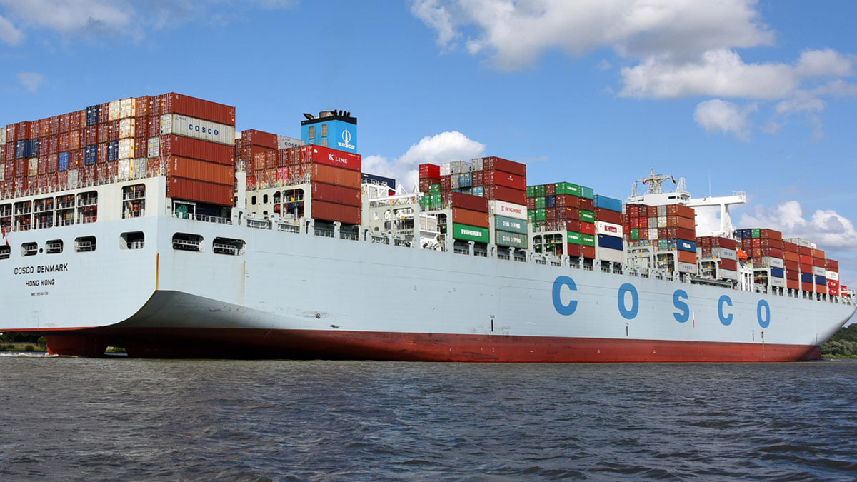 Cosco logo on side of ship
