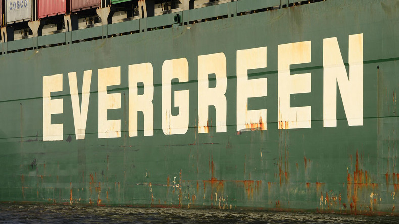 Evergreen logo on containership