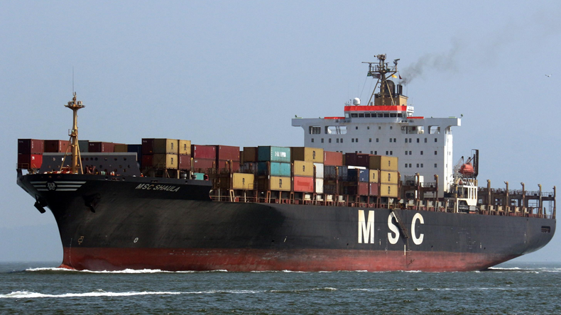 MSC Shaula with smoke from funnel