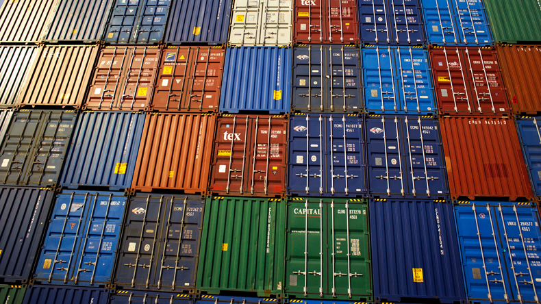 A wall of stacked containers