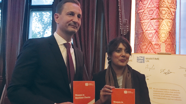 Associated British Ports chief executive Henrik Pedersen and UK shipping minister Nusrat Ghani
