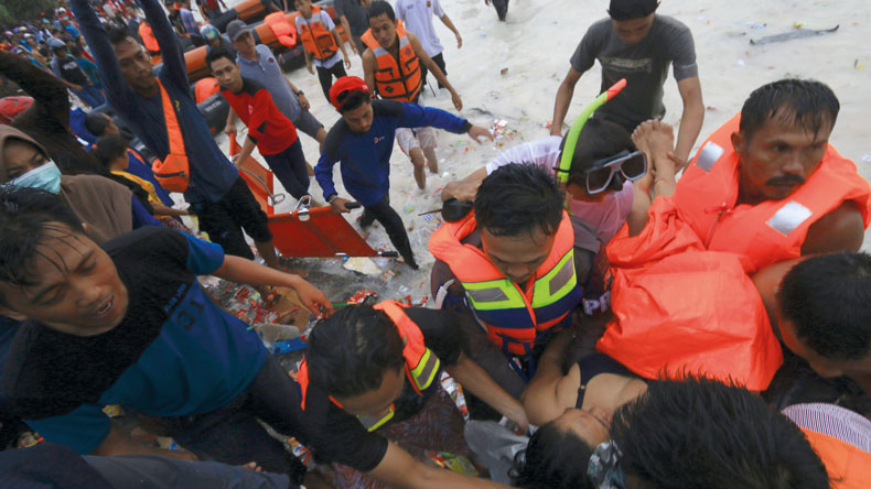 Rescuers in Lestari Maju ferry casualty