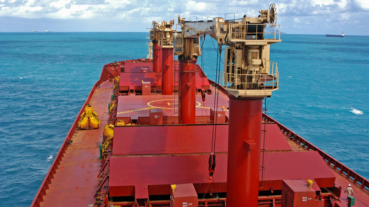 Bulker deck with cranes
