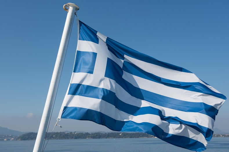 Greek flag. Shutterstock. One time use only