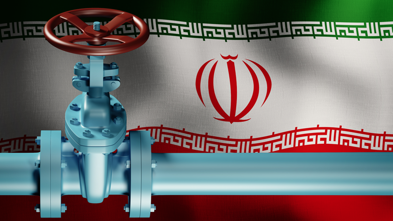Iran flag and pipe