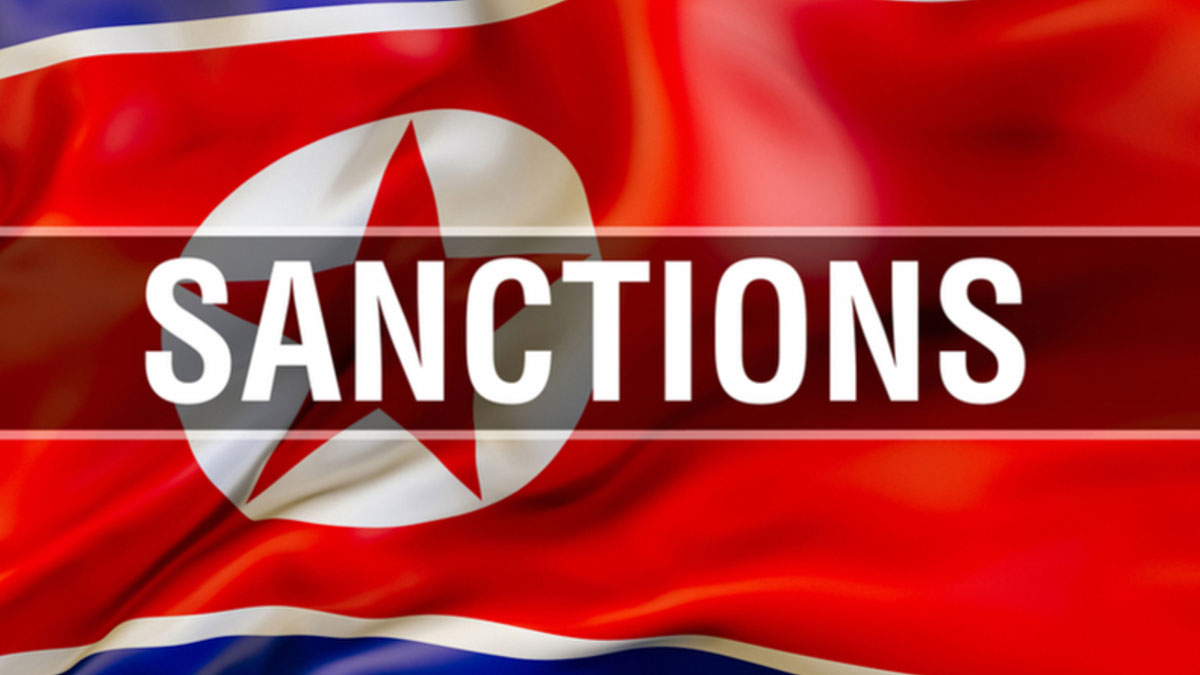North Korea flag with sanctions overlay