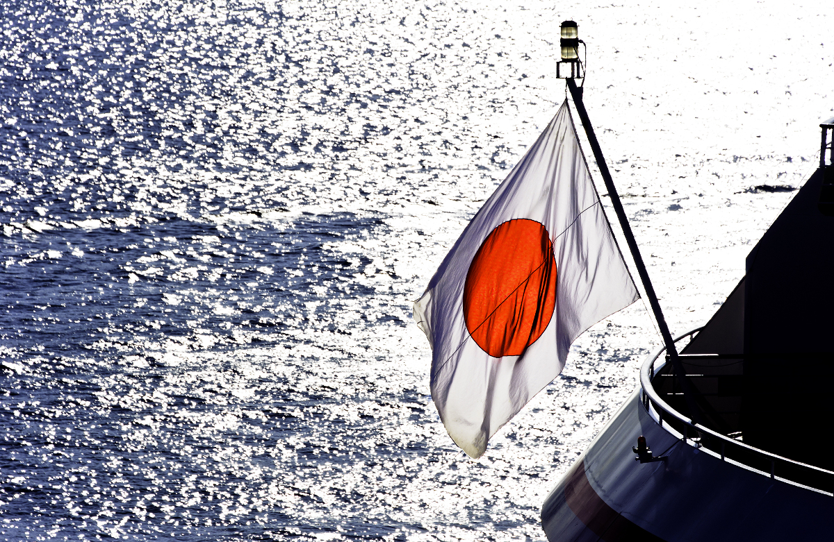 Japan flag on ship