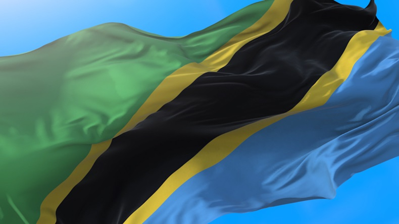 Tanzania flag waving in wind Tanzanian background