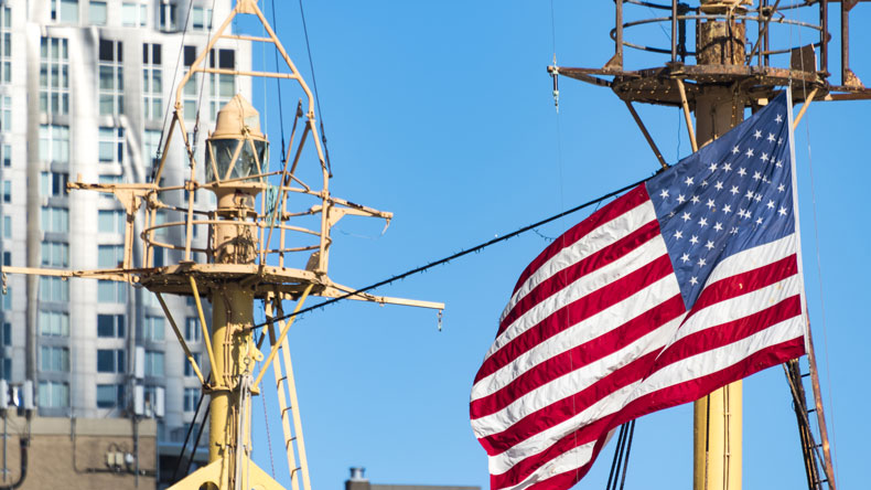 US flag on ship mast