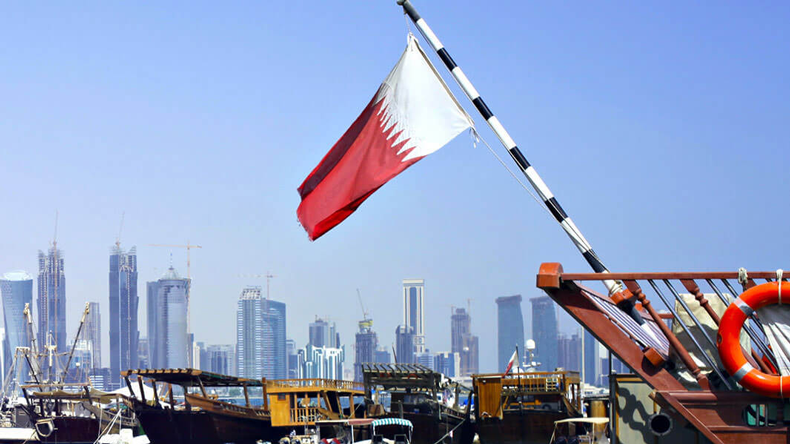 Qatar flag at harbour
