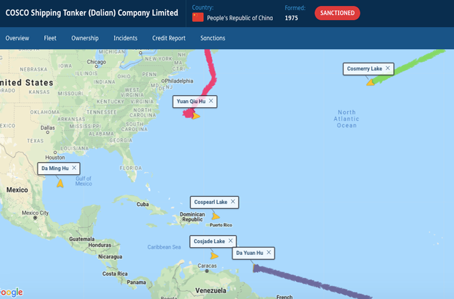 Chinese tanker movements