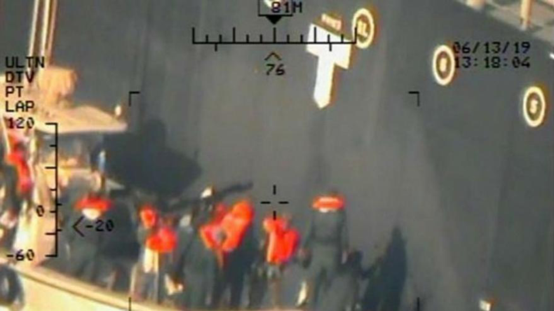 US pic allegedly show Iran Revolutionary Guards removing unexploded mine