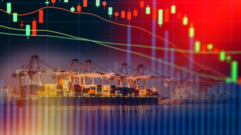 Double exposure of stocks market chart concept with International Container Cargo ship in the ocean, Freight Transportation, Shipping, Nautical Vessel  K By Kanok Sulaiman
