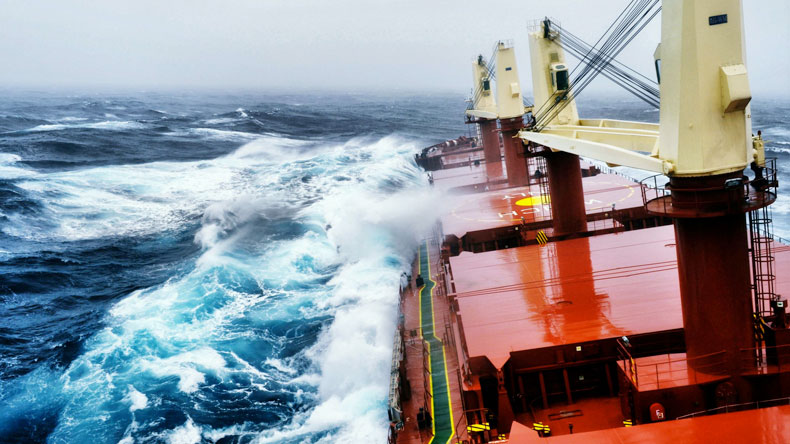 Bulker in bad weather