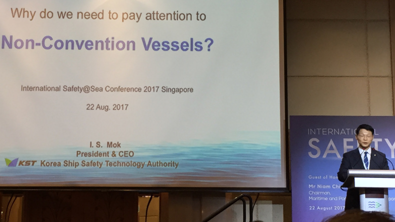 Korea Ship Safety Technology Authority CEO I S Mok speaking at International Safety@Sea Conference 2017 Singapore
