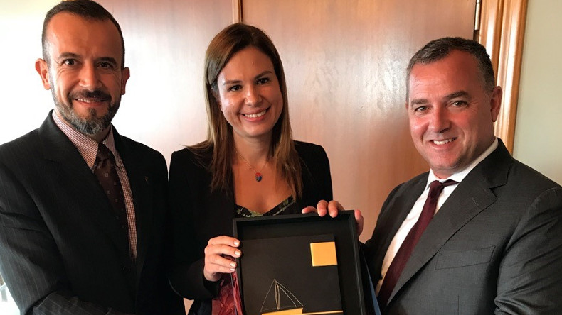 Chief executive Polys Hajioannou (right) with Erma First managing director Konstantinos Stampedakis and business development manager Helen Polychronopoulou