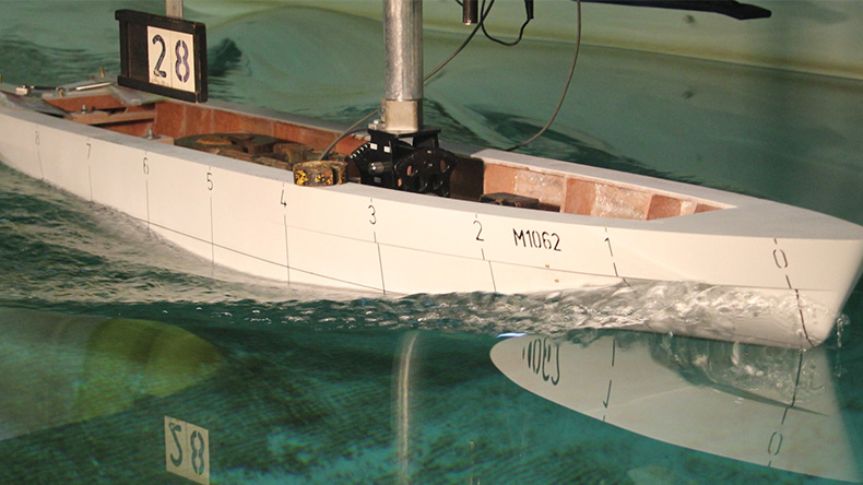 Tank test of model vessel for wind power
