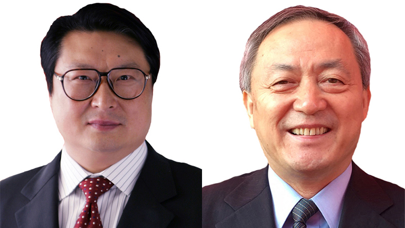Hu Wenming, China Shipbuilding Industry Corp, left and Dong Qiang, China State Shipbuilding Corp