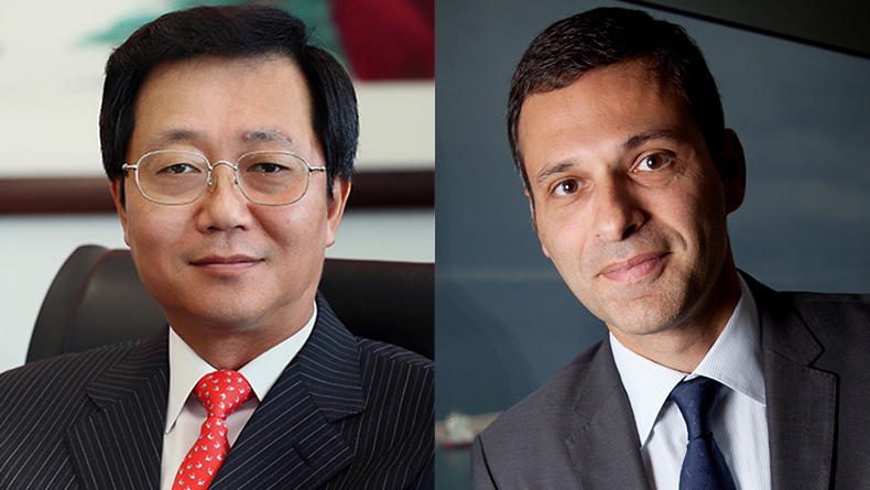 Xu Lirong, China Cosco Shipping Group chairman, left and Rodolphe Saadé, chairman and chief executive of CMA CGM