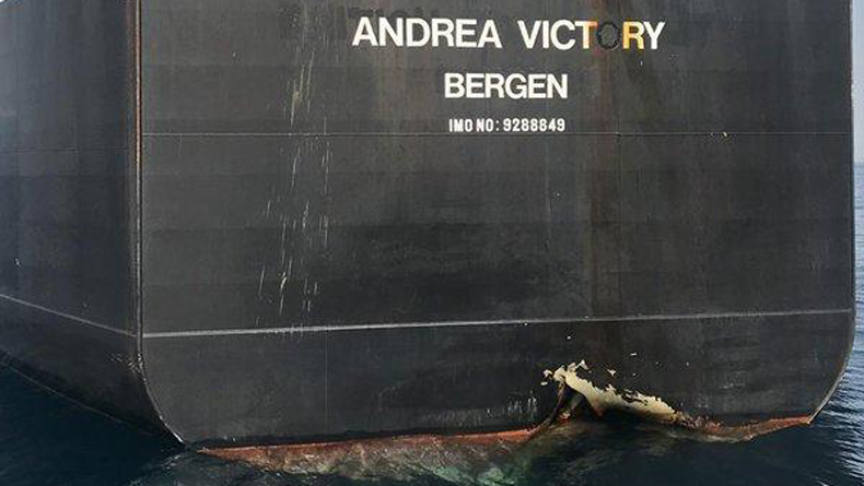 Damage on the tanker Andrea Victory