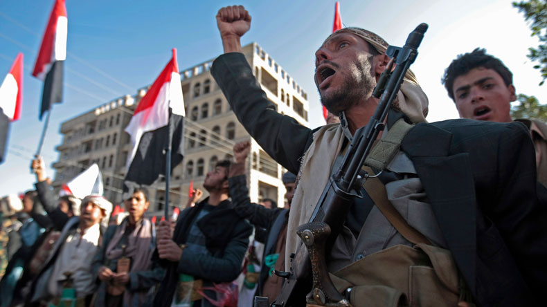 Houthi rebels' supporters in Sana'a Yemen