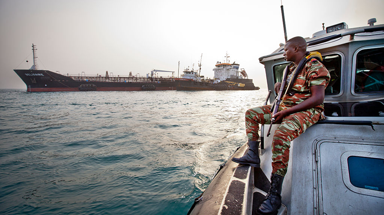 On guard against pirates in the Gulf of Guinea -- Jason Florio/Corbis via Getty Images