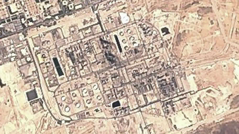 Saudi Arabia's Abqaiq refinery on 15 September 2019 after drone strike: false-colour image from European Union Sentinel-2 satellite