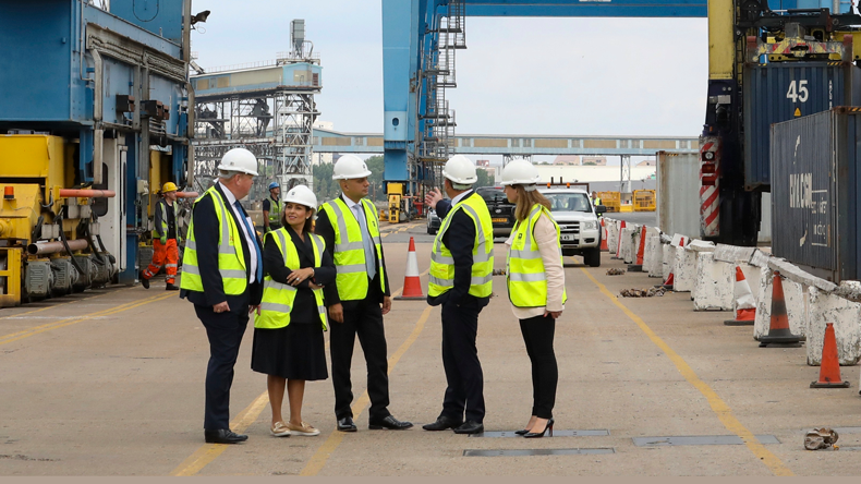 Chancellor Sajid Javid (centre) at  Tilbury, accompanied by Priti Patel (second left), publicising a £2.1bn package to facilitate a WTO Brexit.