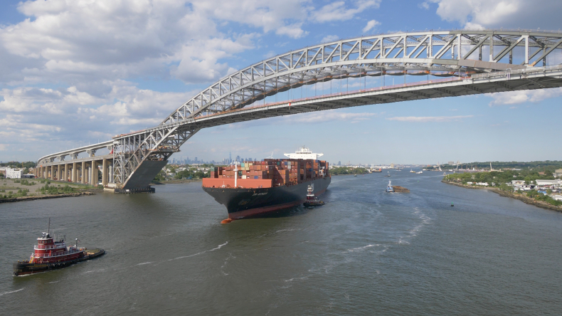ZIM Antwerp has become the first 10,000 teu containership to berth at Maher Terminal in Port Elizabeth, New Jersey, having sailed under the raised Bayonne Bridge
