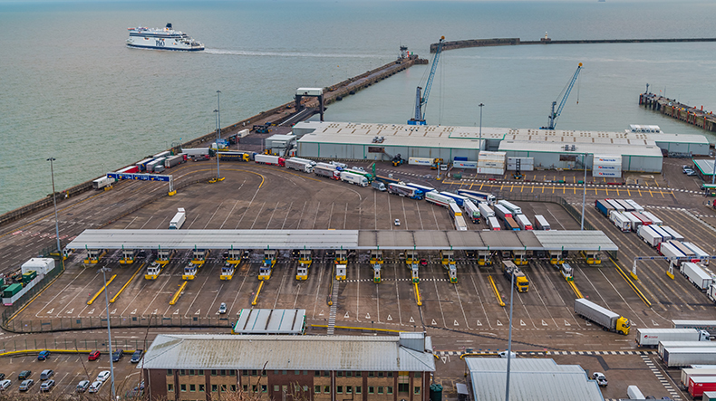 Dover port, trucks waiting to be loaded