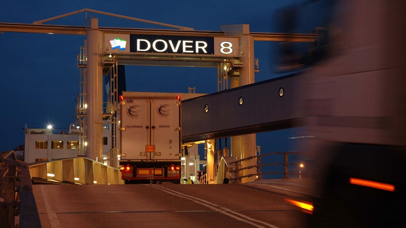 Dover lorries embarking at evening