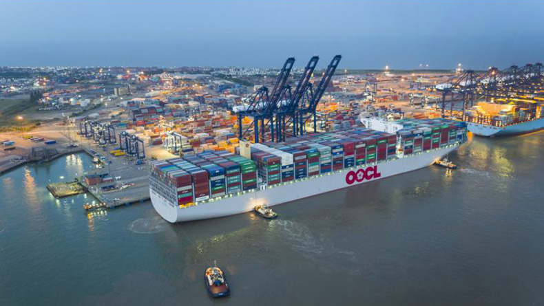Felixstowe: The world's largest containership, the 21,413 teu OOCL Hong Kong, making its maiden call at the port.
