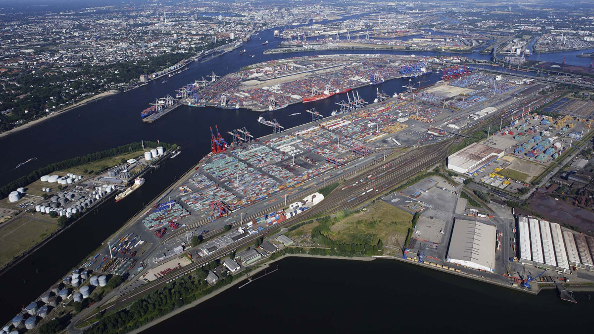 Hamburg port aerial view