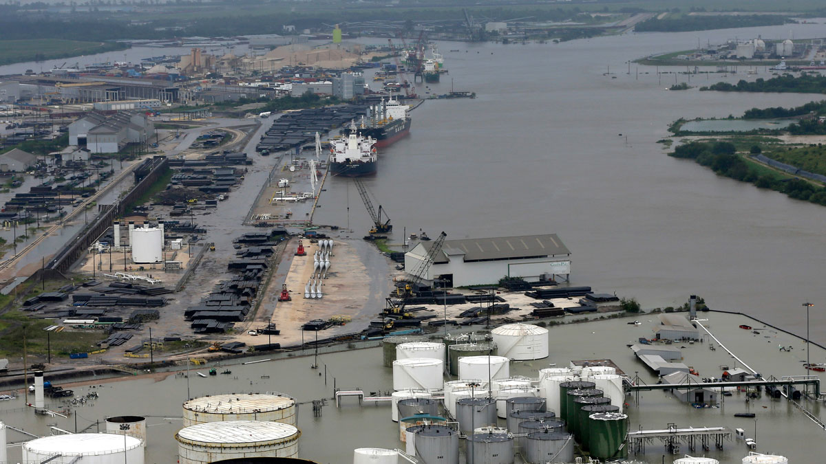 Houston Ship Channel after Hurricane Harvey
