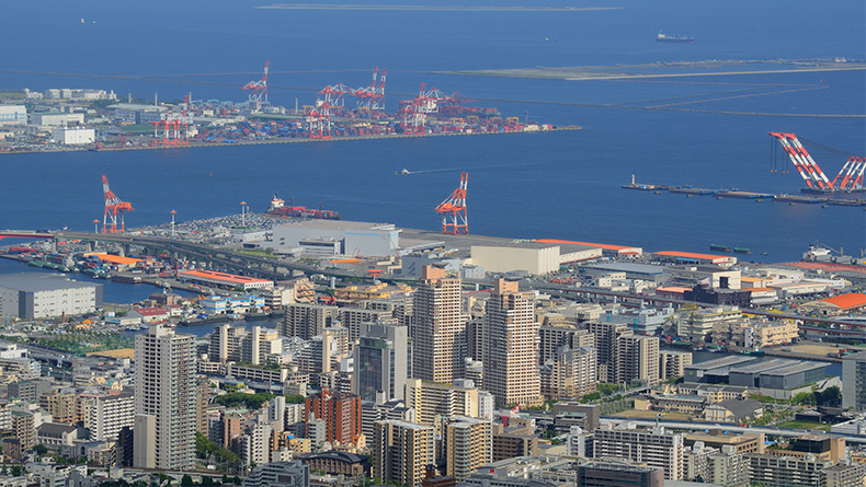 Kobe: second-largest container gateway in Japan after the Port of Tokyo.
