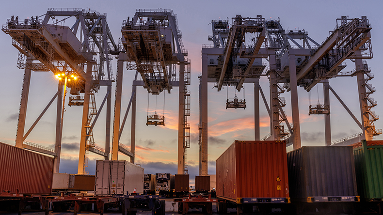Shipping Container Cranes and Trucks