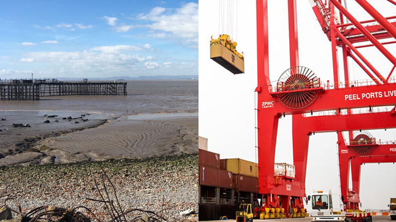 Left: Port of Bristol box terminal site. Right: Unloading at Liverpool2