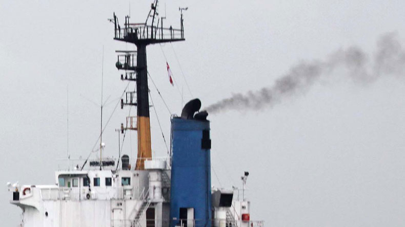 Emissions from ship funnel